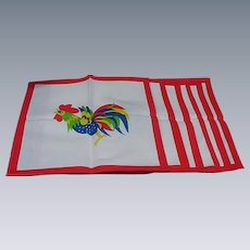 Six Vintage Rooster Cocktail Napkins, Red Borders