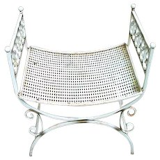 Mid-Century Iron Bench with Curved Seat
