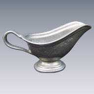 Vintage Footed Pewter Finish Sauce Boat