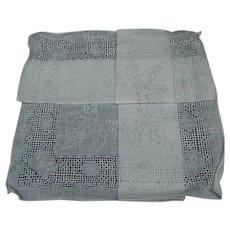 Vintage Drawn Work & Embroidered Linen Handkerchief