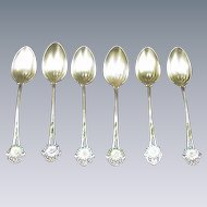 Six Whiting Demitasse Spoons, Enamel Flowers on Handles, Gold-Washed Bowls