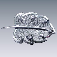 Vintage Sterling Silver Leaf Pin by Jewel Art