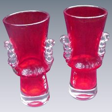 Pair of Ruby Art Glass Vases, Clear Handles and Base.