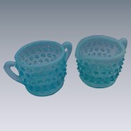 Blue Opalescent Hobnail Individual Cream and Sugar