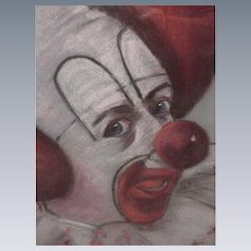 Vintage Pastel Drawing, Bozo the Clown, Signed V. Workman