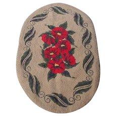 Vintage Hooked Rug, Red Flowers