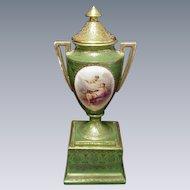 Hand-Painted Porcelain Mantle Urn, Beehive Mark, Artist Signed