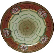 Hand-Painted Pickard Plate, Geometrics with Lilies in Floral Reserves, Signed Shoner
