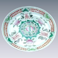 Early Asian Saucer Decorated with Bats and Peaches