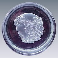 Vintage Clear Crystal Round Tray with Woman's Head in Relief