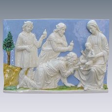 Vintage Della Robbia Style Plaque, Holy Mother with Child and Wise Men, Italy