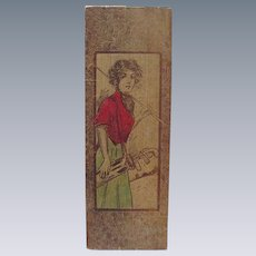 Vintage Pyrography Glove Box with Golfer's Image on Front and Inside Lid