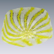 Latticino Bowl, Yellow and White