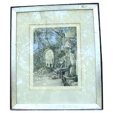 Etching of French Market Scene, Artist Signed
