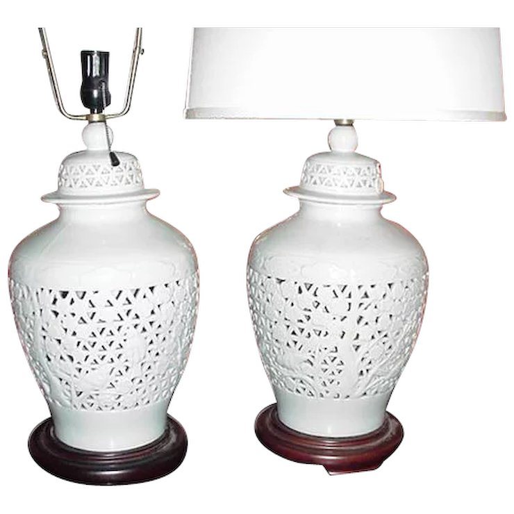 Pair Of Vintage Pierced Anese Ginger Jar White Lamps