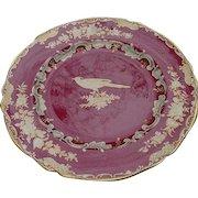 Spode Bone China Dinner Plate, Rose Background, Gold Bird & Flowers