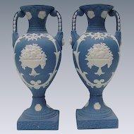 Stunning Pair of Neoclassical Style Jasperware Vases