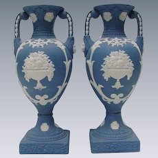 Stunning Pair of Neoclassical Style Jasperware Vases