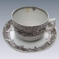 Brown Transferware Cup & Saucer, England, Alexandria Pattern, 1885