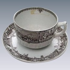 Brown Transferware Cup & Saucer, England, Alexandria Pattern, 1885