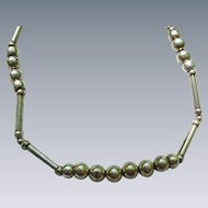 Vintage Silver-Tone Metal Necklace, Hollow Beads and Bars