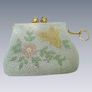 Beaded Pearl Evening Purse, with Pink Butterfly and Flower