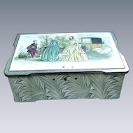 English Sweets Tin with Lid Design Featuring Ladies in Stylish Dress