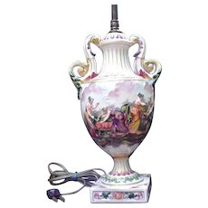 Vintage Porcelain Capodimonte Lamp with Goddess and Handmaidens in Relief