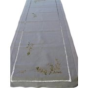 Vintage Linen Drawn-Work and Embroidered Runner