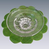 Vintage Clear Glass Bowl with Ground Base, Upturned Rim