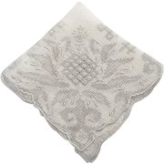 Wedding Handkerchief, Embroidery and Drawn Work on Linen