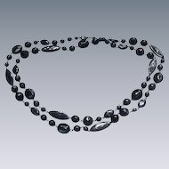 23 Inch Strand of Vintage Black Beads, Ovals, Rounds, Ellipticals--Plain and Fancy