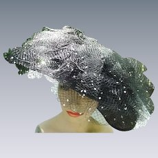 Fabulous Jack McConnell Black Straw Hat with Rhinestone Studded Veil