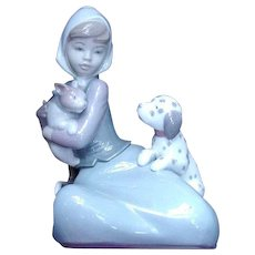 Lladro Figurine of Girl with Cat and Dog
