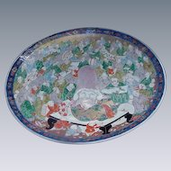 Monumental Antique Asian Charger with Assembly of Immortals