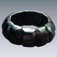 Snazzy Vintage Black Bakelite Bracelet with Faceted Panels
