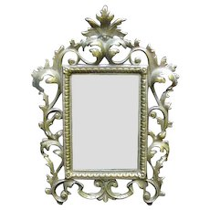 Ornate Dresser Mirror, Brass Frame
