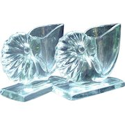 Nautilus Shell Bookends, New Martinsville Mold Formed Clear Glass