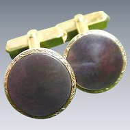 Vintage Pair of Swank Cuff Links, Gold-Tone with Abalone Shell