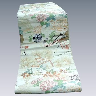 Vintage Japanese Silk Obi, Cream Background with Apricot, Blue, & Yellow Flowers