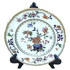 Porcelain Dinner Plate with Asian Design