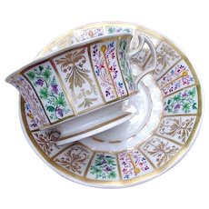 KPM Paneled Cup and Saucer, Heavy Gold Embellishment