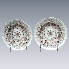 Pair of Mason's Patent Ironstone Brown Transferware Soup Plates, Bow Bells