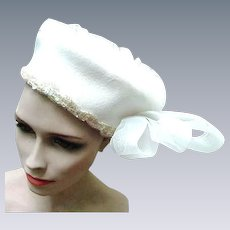 Vintage White Wool Pillbox Style Hat with Sequin Trim and Sculptured White Bow