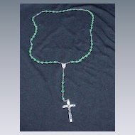 Vintage Rosary Necklace w Green Glass Beads
