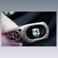 Man's 14 Kt. Gold Ring with One Diamond