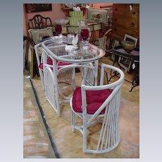 Three Piece, Vintage, Rattan Patio Set, Painted White
