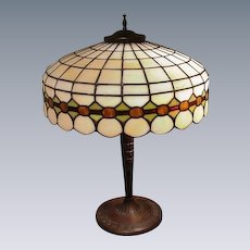 Early 1900s, Bronze-Base, Leaded Glass Lamp