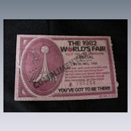 1982 World's Fair Ticket, Knoxville, TN