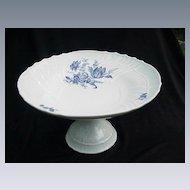 Richard Ginori, Italy, Pedestal Compote, Blue Floral Design on White Porcelain